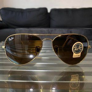 RayBan RB3025 58MM Brown / Gold Aviators - New